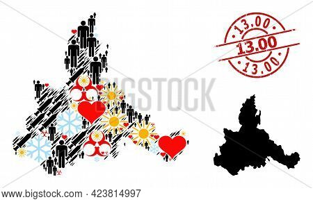 Textured 13.00 Stamp, And Sunny Man Syringe Collage Map Of Zaragoza Province. Red Round Badge Has 13