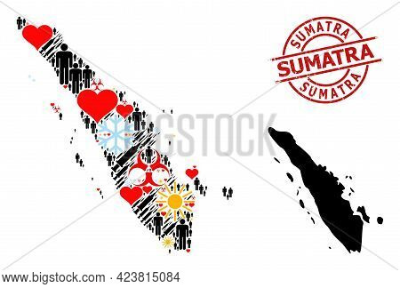 Grunge Sumatra Stamp Seal, And Sunny Customers Vaccine Collage Map Of Sumatra Island. Red Round Seal