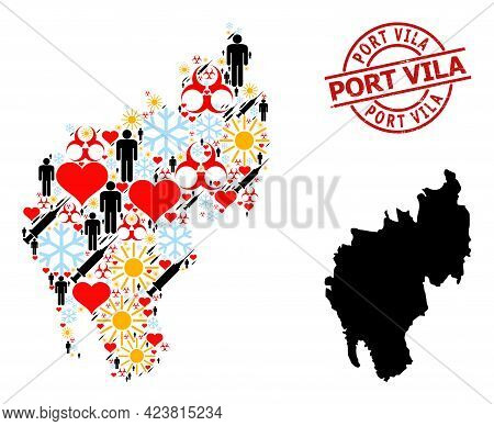 Grunge Port Vila Stamp, And Spring Demographics Covid-2019 Treatment Mosaic Map Of Tripura State. Re
