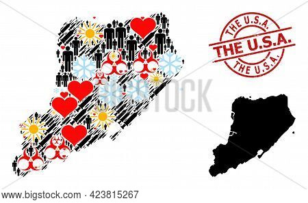 Textured The U.s.a. Seal, And Heart Patients Infection Treatment Mosaic Map Of Staten Island. Red Ro