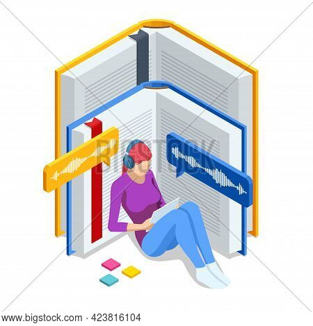Isometric Audiobooks Online Concept. Woman Listening To E-books In Audio Format. Books Online. Onlin