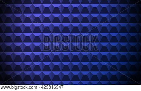 Blue Abstract Background. Acoustic Foam Wall, Soundproofing. Concrete Fence. Cement Wall. 3d Geometr
