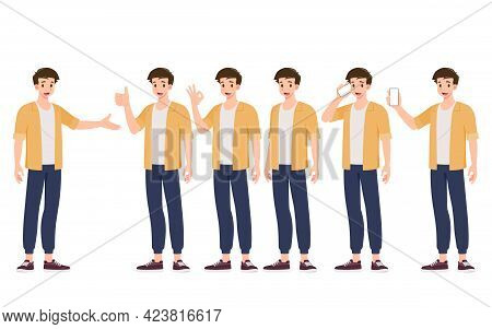 Collection Of Smiling Handsome Young Man In Different Gesture Style Standing Isolated On White Backg