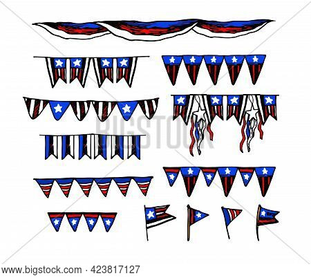 Vector Set Of Garlands Of Flags In The Colors Of The American Flag. Garlands Isolated Decoration Set