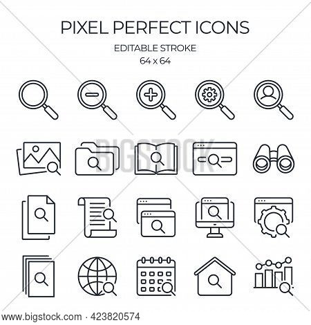 Search Related Editable Stroke Outline Icons Set Isolated On White Background Flat Vector Illustrati