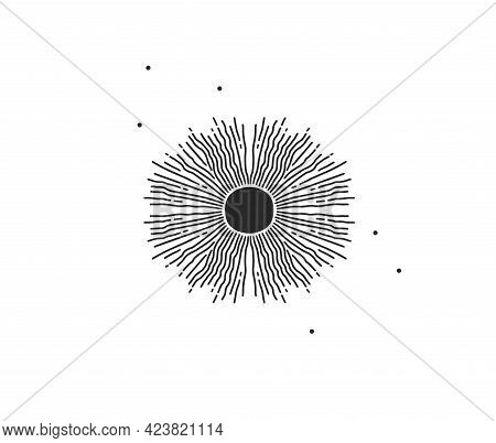 Hand Drawn Vector Abstract Stock Flat Graphic Illustration With Logo Element Of Magic Celestial Sun
