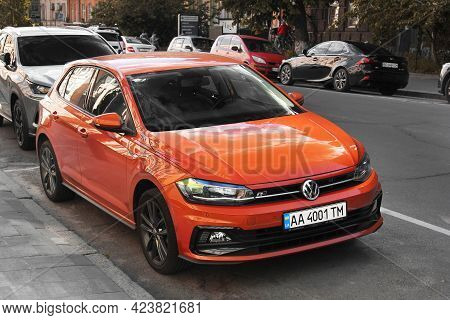 Kiev, Ukraine - May 22, 2021: Volkswagen Polo R-line Parked In The City