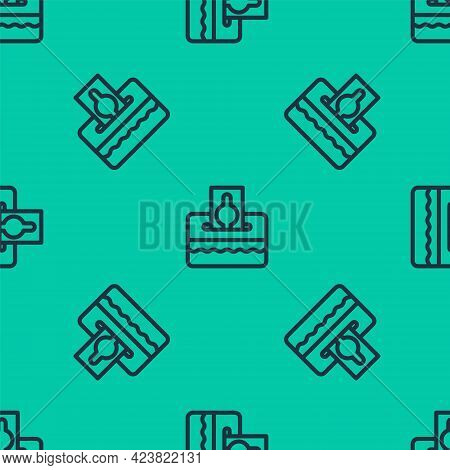 Blue Line Donate Or Pay Your Zakat As Muslim Obligatory Icon Isolated Seamless Pattern On Green Back