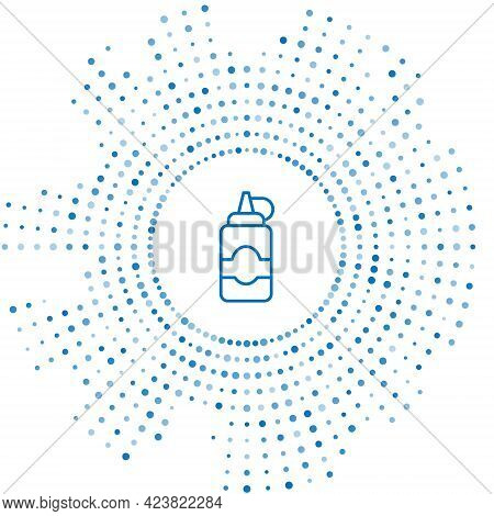 Blue Line Sauce Bottle Icon Isolated On White Background. Ketchup, Mustard And Mayonnaise Bottles Wi