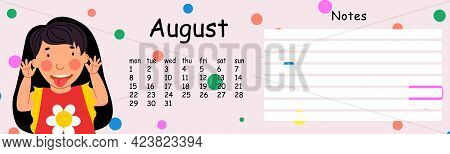 Glider Wall Calendar Template For The Year 2022 Month Of August.