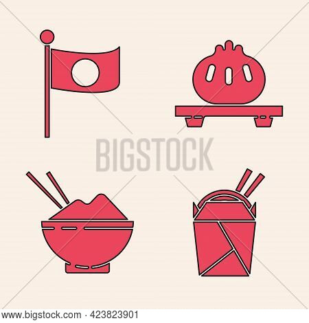 Set Asian Noodles In Paper Box And Chopsticks, National Flag Of Japan On Pole, Dumpling On Cutting B