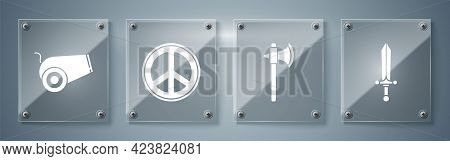 Set Medieval Sword, Medieval Axe, Peace And Cannon. Square Glass Panels. Vector