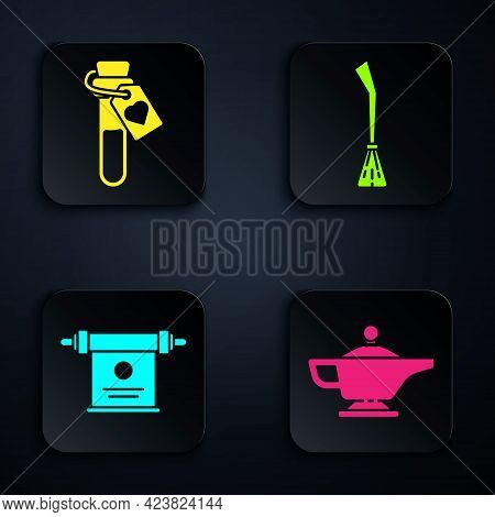 Set Magic Lamp Or Aladdin, Bottle With Love Potion, Magic Scroll And Witches Broom. Black Square But