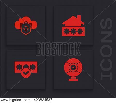 Set Security Camera, Cloud And Shield, House With Password And Password Protection Icon. Vector