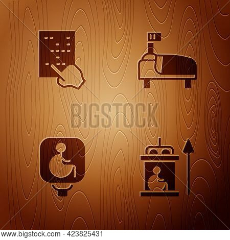 Set Elevator For Disabled, Braille, Disabled Wheelchair And Hospital Bed On Wooden Background. Vecto