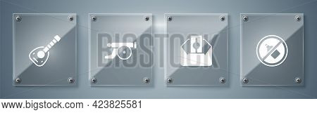 Set No Alcohol, Donate Or Pay Your Zakat, Ramadan Cannon And Lute. Square Glass Panels. Vector