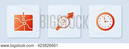 Set Arrow, Intersection Point And Clock. White Square Button. Vector