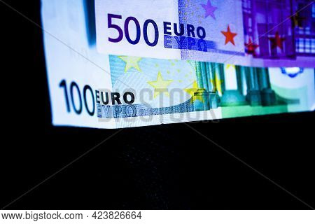 500 And 100 Euros In Official Banknotes. No People