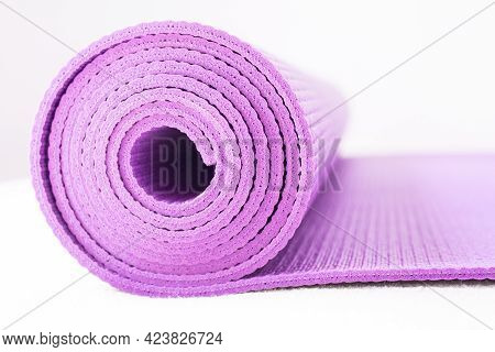 Rolled Up Yoga Or Pilates Mat. No People