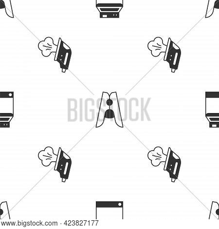 Set Washer, Clothes Pin And Electric Iron On Seamless Pattern. Vector