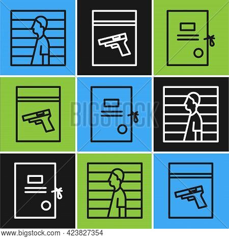Set Line Suspect Criminal, Lawsuit Paper And Evidence Bag And Pistol Or Gun Icon. Vector