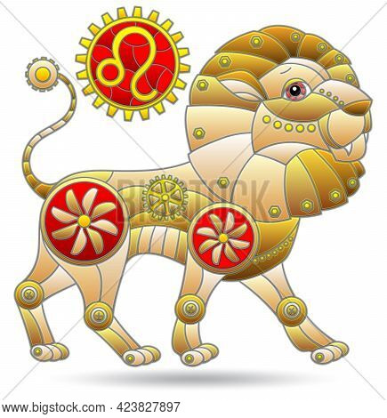 Illustration In The Style Of A Stained Glass Window With A  Zodiac Sign Leo, Figure Isolated On A Wh