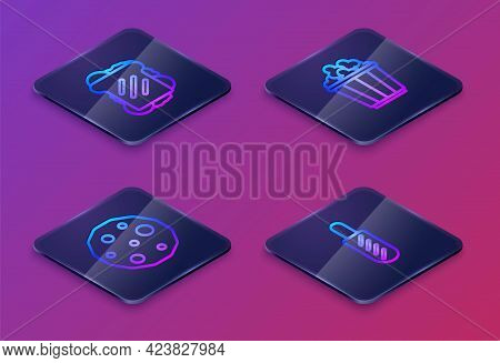 Set Isometric Line Sandwich, Cookie Or Biscuit, Popcorn In Box And Hotdog Sandwich. Blue Square Butt