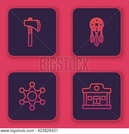 Set Line Tomahawk Axe, Hexagram Sheriff, Dream Catcher With Feathers And Wild West Saloon. Blue Squa