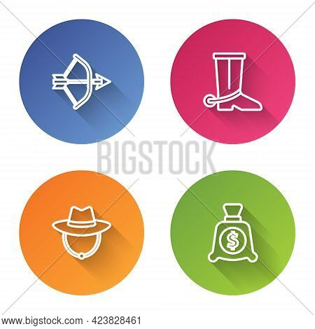 Set Line Bow And Arrow In Quiver, Cowboy Boot, Western Cowboy Hat And Money Bag. Color Circle Button