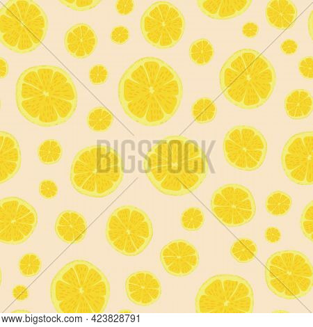 Yellow Citron Parts Vector Seamless Repeat Pattern