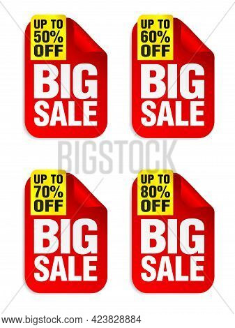 Big Sale Red Stickers Set With Yellow Ribbon. Sale Stickers 50%, 60%, 70%, 80% Off. Vector Illustrat
