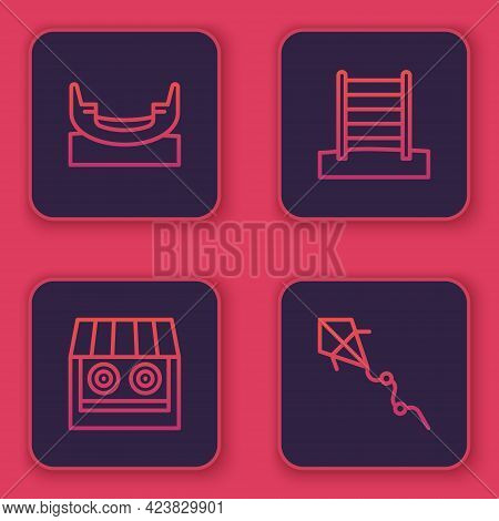 Set Line Boat Swing, Shooting Gallery, Swedish Wall And Kite. Blue Square Button. Vector