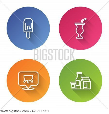 Set Line Ice Cream, Milkshake, Udder And Product. Color Circle Button. Vector
