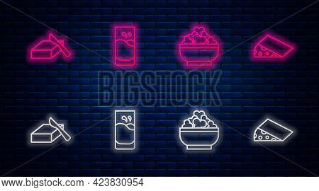 Set Line Glass With Milk, Cottage Cheese, Butter In Butter Dish And Cheese. Glowing Neon Icon On Bri