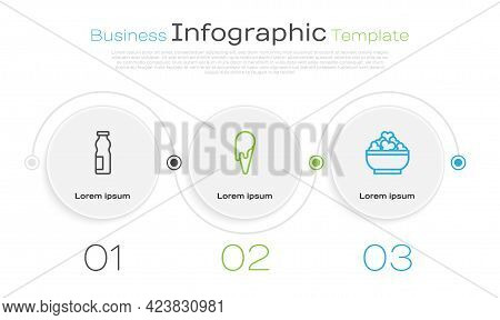 Set Line Drinking Yogurt In Bottle, Ice Cream Waffle Cone And Cottage Cheese. Business Infographic T