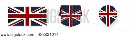 Flags Of The Great Britain. Label, Point Icon And Simple Flag. Vector Illustration
