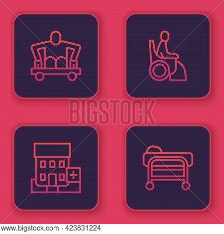Set Line Man Without Legs Sitting Wheelchair, Medical Hospital Building, Woman And Stretcher. Blue S
