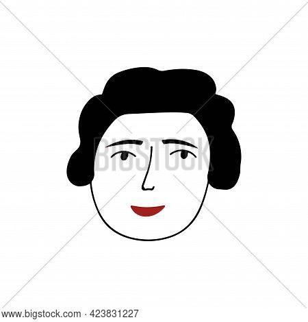 Hand Drawn Human Face Doodle. Woman With Red Lipstick. Isolated Ink Pen Drawing. Pencil Sketch. Simp