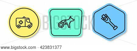 Set Line Emergency Car, Dog In Wheelchair And Prosthesis Leg. Colored Shapes. Vector
