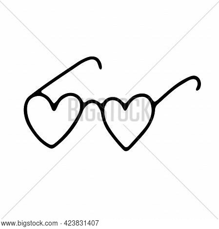 Doodle Heart Shape Glasses. Hand-drawn Cute Accessory Isolated On White Background. Outline Spectacl