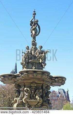 Historic Ross Fountain In Princes Street Gardens, Edinburgh