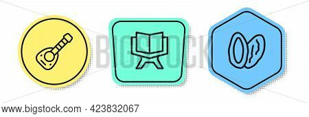 Set Line Lute, Holy Book Of Koran And Date Fruit. Colored Shapes. Vector