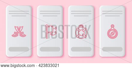 Set Line Crossed Pirate Swords, Pirate Flag, Lifebuoy And Compass. White Rectangle Button. Vector