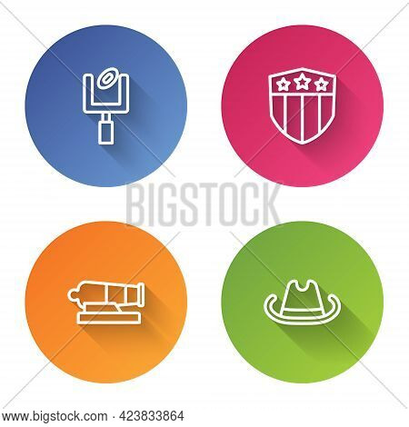 Set Line American Football Goal Post, Shield With Stars, Cannon And Western Cowboy Hat. Color Circle