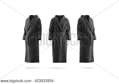 Blank Black Hotel Bathrobe Mock Up, Front And Side View, 3d Rendering. Empty Plush Or Fleece Houseco