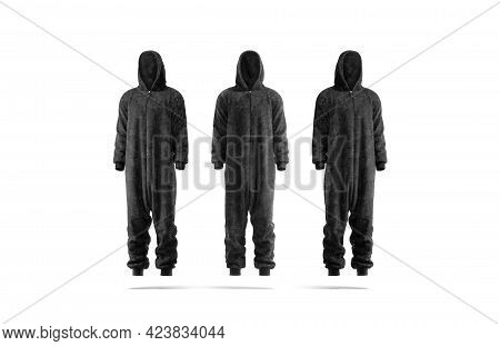 Blank Black Plush Jumpsuit With Hood Mockup, Front Side View, 3d Rendering. Empty Fleece Hooded Cost