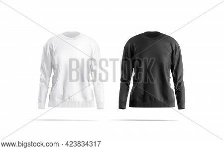Blank Black And White Women Sweatshirt Mockup, Front View, 3d Rendering. Empty Fleece Sport Sweater