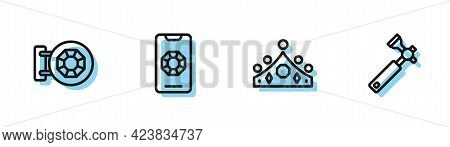 Set Line King Crown, Jewelry Store, Online Shopping And Jewelers Lupe Icon. Vector