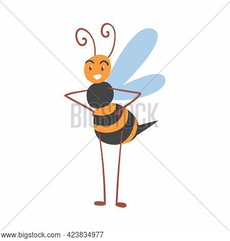 Cute Bee Standing With Hands On Its Waist, Happy Funny Flying Insect Character Cartoon Vector Illust