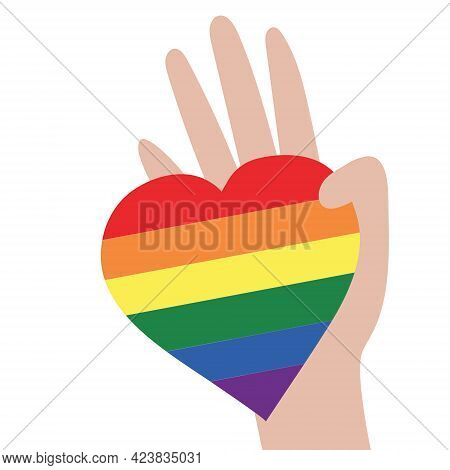 Vector Illustration Of The Lgbt Community. Hand Holding A Rainbow Heart. Lgbtq Symbolism And Colors.